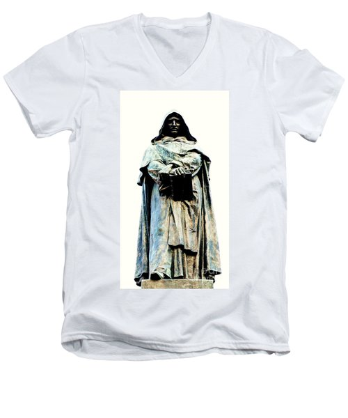 Men's V-Neck T-Shirt featuring the sculpture Giordano Bruno Monument by Roberto Prusso