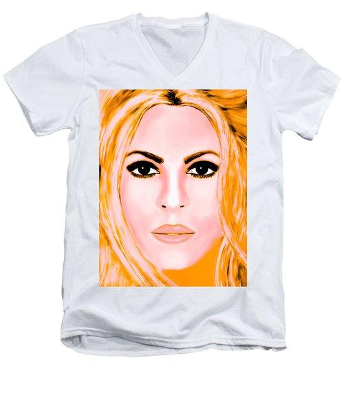 Gold Shakira Men's V-Neck T-Shirt by Mathieu Lalonde