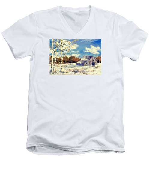 Men's V-Neck T-Shirt featuring the painting Grandma's Barn by Lou Ann Bagnall