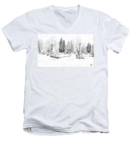 Graveyard In The Snow Men's V-Neck T-Shirt