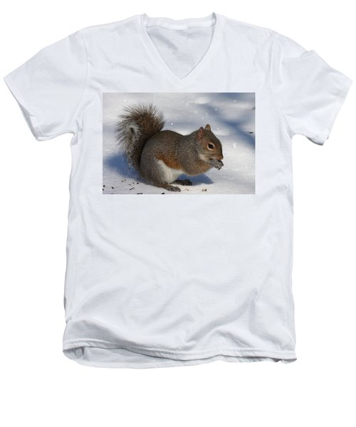 Gray Squirrel On Snow Men's V-Neck T-Shirt
