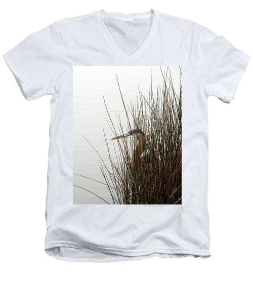 Great Blue Heron Men's V-Neck T-Shirt by Kay Lovingood