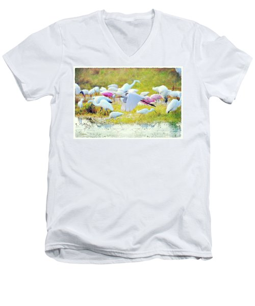 Men's V-Neck T-Shirt featuring the photograph Great Egret Flying by Dan Friend