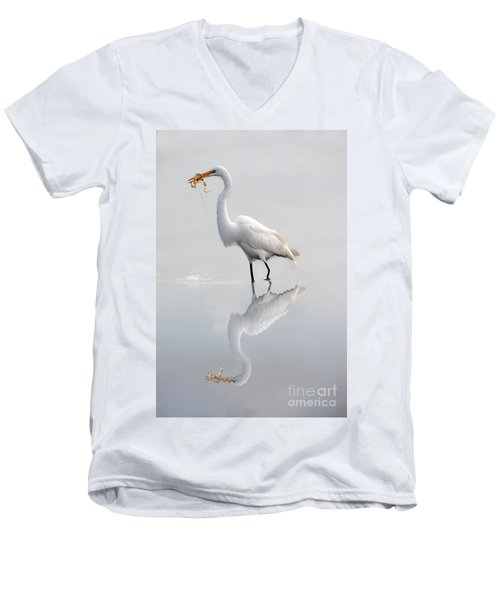 Men's V-Neck T-Shirt featuring the photograph Great Egret With Lunch by Dan Friend