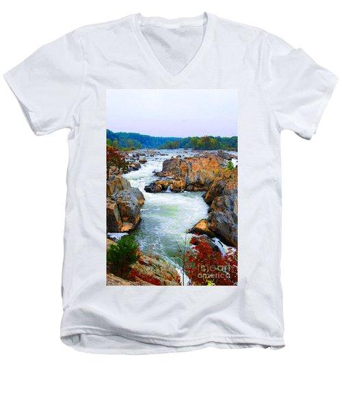 Great Falls On The Potomac River In Virginia Men's V-Neck T-Shirt