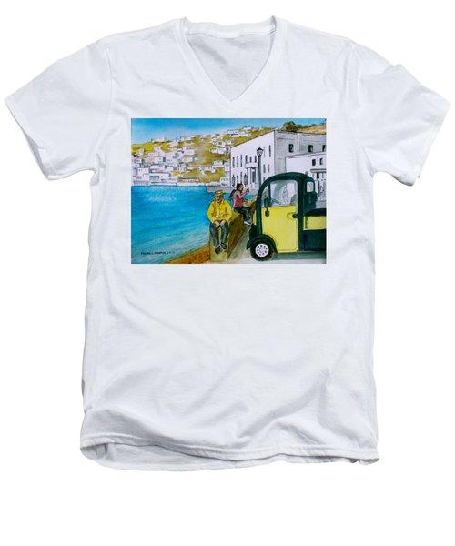 Greek Island Of Mykonis Men's V-Neck T-Shirt