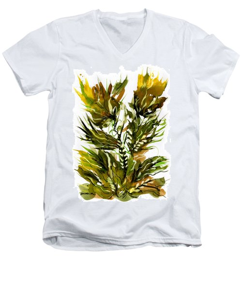 Green Flames Men's V-Neck T-Shirt
