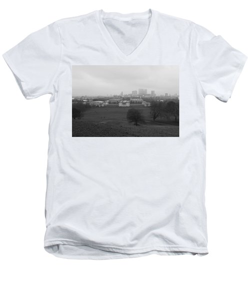 Men's V-Neck T-Shirt featuring the photograph Greenwich View by Maj Seda