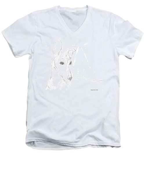 Men's V-Neck T-Shirt featuring the drawing Greyhound by George Pedro