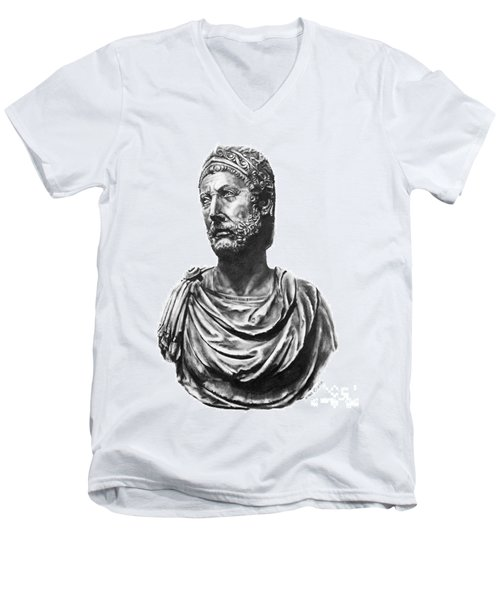Men's V-Neck T-Shirt featuring the drawing Hannibal by Marianne NANA Betts