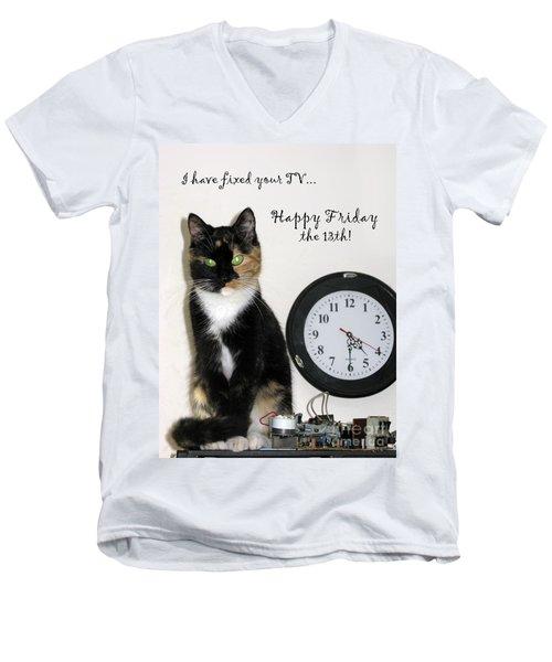 Men's V-Neck T-Shirt featuring the photograph Happy Friday The 13th by Ausra Huntington nee Paulauskaite