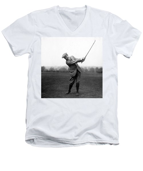 Men's V-Neck T-Shirt featuring the photograph Harry Vardon Swinging His Golf Club by International  Images