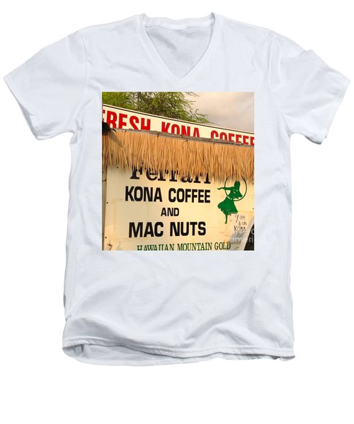 Men's V-Neck T-Shirt featuring the photograph Hawaiian Food Truck by Beth Saffer