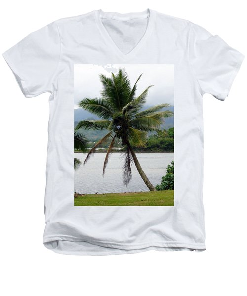 Men's V-Neck T-Shirt featuring the photograph Hawaiian Palm by Athena Mckinzie