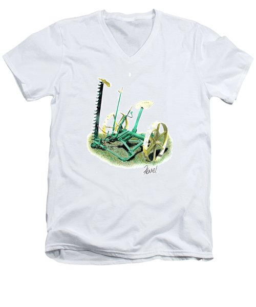 Men's V-Neck T-Shirt featuring the painting Hay Cutter by Ferrel Cordle