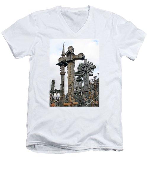 Hill Of Crosses 09. Lithuania Men's V-Neck T-Shirt by Ausra Huntington nee Paulauskaite