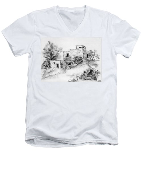 Hirbe Landscape In Afek Black And White Old Building Ruins Trees Bricks And Stairs Men's V-Neck T-Shirt by Rachel Hershkovitz