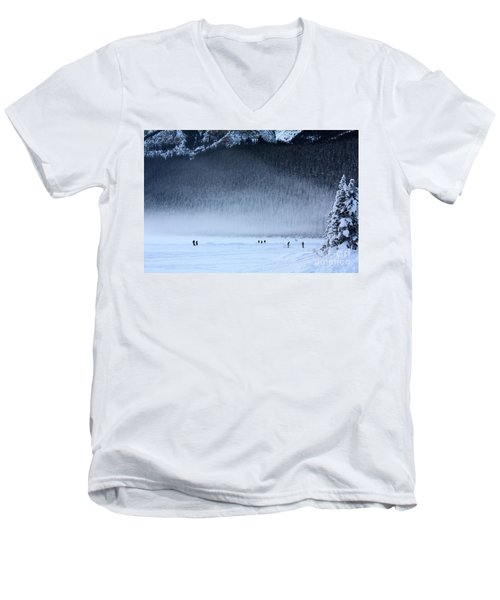 Men's V-Neck T-Shirt featuring the photograph Hockey On Lake Louise by Alyce Taylor