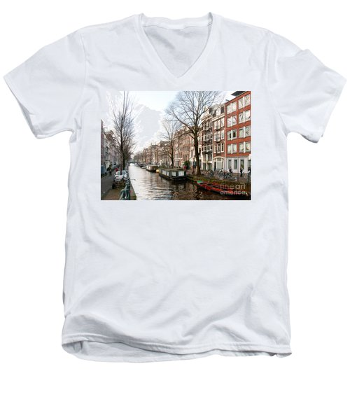 Homes Along The Canal In Amsterdam Men's V-Neck T-Shirt by Carol Ailles