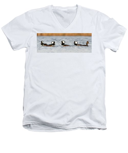 Hooded Mergansers Men's V-Neck T-Shirt by Mircea Costina Photography