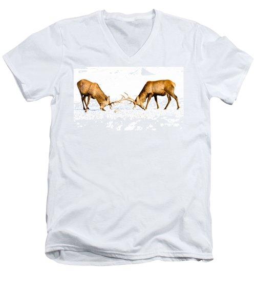 Horns A Plenty Men's V-Neck T-Shirt by Cheryl Baxter