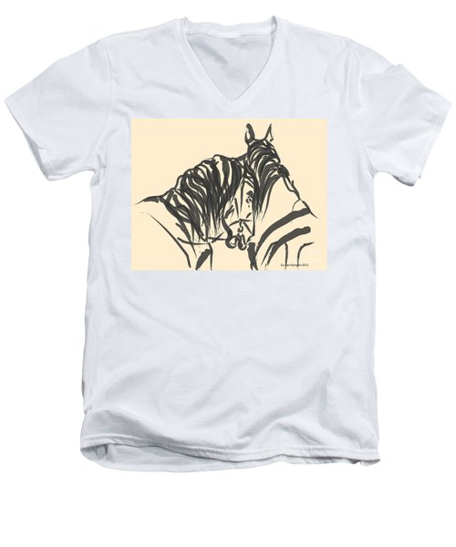 Men's V-Neck T-Shirt featuring the painting Horse - Together 9 by Go Van Kampen