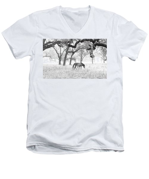 Horse In Foggy Field Of Oaks Men's V-Neck T-Shirt by CML Brown