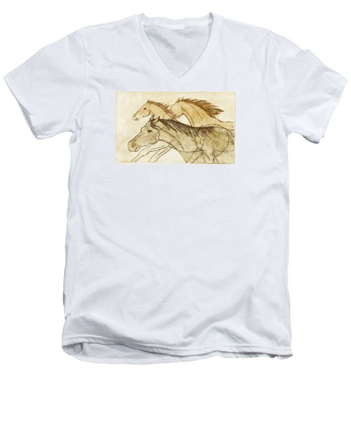 Men's V-Neck T-Shirt featuring the drawing Horse Sketch by Nareeta Martin