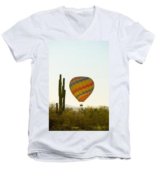 Hot Air Balloon In The Arizona Desert With Giant Saguaro Cactus Men's V-Neck T-Shirt