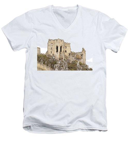 Men's V-Neck T-Shirt featuring the photograph Hrad Beckov Castle by Les Palenik