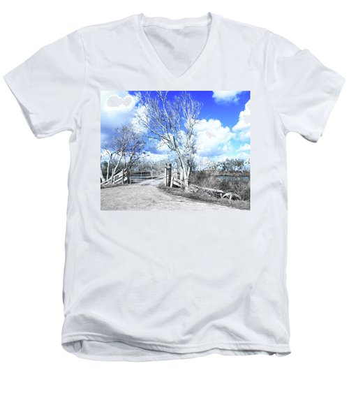 Men's V-Neck T-Shirt featuring the photograph Hwy 82 Coastal Louisiana by Lizi Beard-Ward