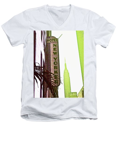 Men's V-Neck T-Shirt featuring the photograph I Love New York by Beth Saffer