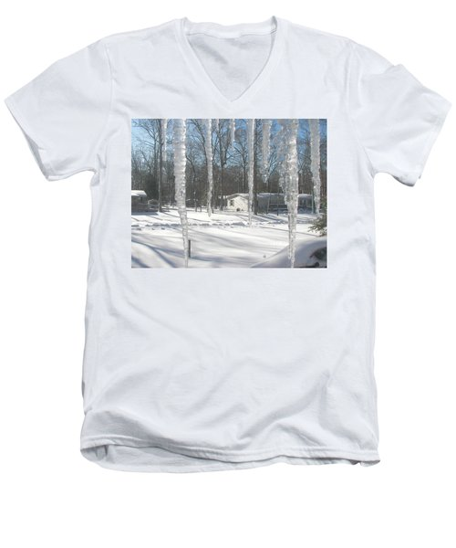 Men's V-Neck T-Shirt featuring the photograph Icicles Through The Window Glass by Pamela Hyde Wilson