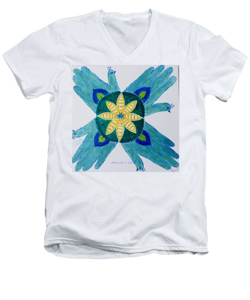Men's V-Neck T-Shirt featuring the painting Impression by Sonali Gangane