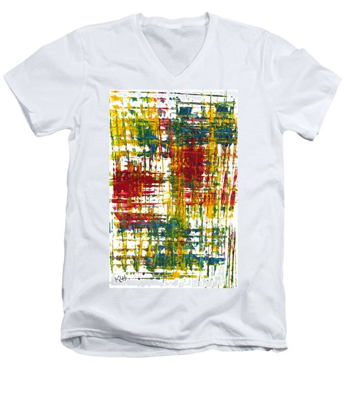 Men's V-Neck T-Shirt featuring the painting Inside My Garden 161.110411 by Kris Haas