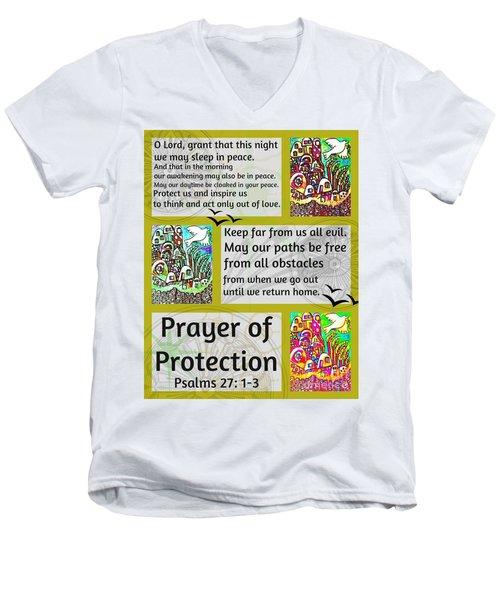 Jewish Prayer Of Protection City Of Jerusalem Gold Men's V-Neck T-Shirt