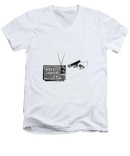 Kill Your Tv Men's V-Neck T-Shirt by Tony Koehl