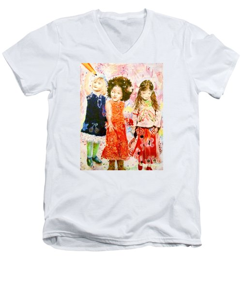 Men's V-Neck T-Shirt featuring the drawing La Fete by Beth Saffer
