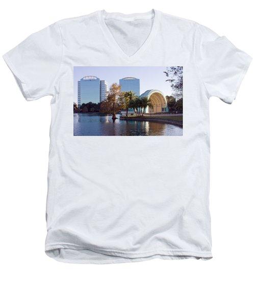 Lake Eola's  Classical Revival Amphitheater Men's V-Neck T-Shirt by Lynn Palmer