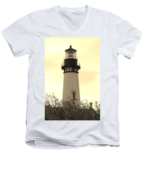 Men's V-Neck T-Shirt featuring the photograph Lighthouse Tranquility by Athena Mckinzie