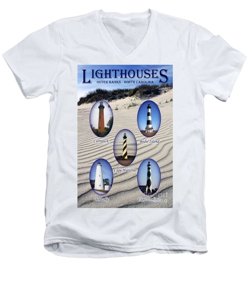 Men's V-Neck T-Shirt featuring the photograph Lighthouses Of The Outer Banks by Tony Cooper