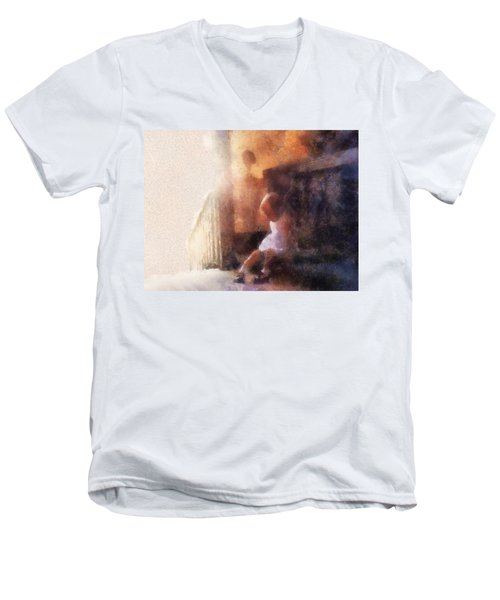 Little Girl Thinking Men's V-Neck T-Shirt