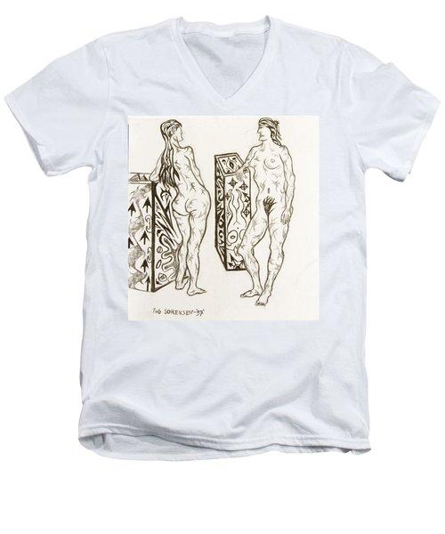 Live Nude 19 Female Men's V-Neck T-Shirt
