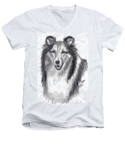 Men's V-Neck T-Shirt featuring the drawing Looks Like Lassie by Julie Brugh Riffey