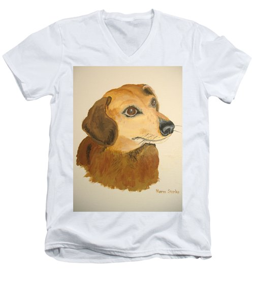 Men's V-Neck T-Shirt featuring the painting Lovable Dachshund by Norm Starks