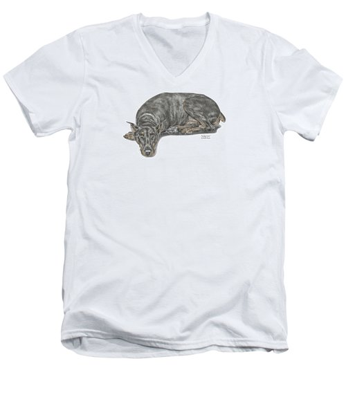 Men's V-Neck T-Shirt featuring the drawing Lying Low - Doberman Pinscher Dog Print Color Tinted by Kelli Swan
