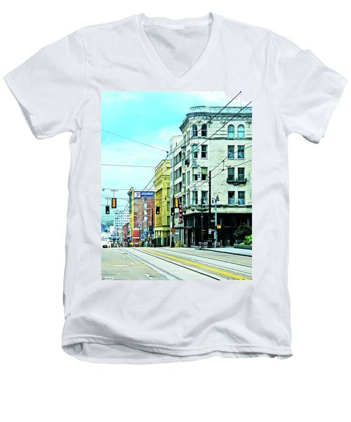 Men's V-Neck T-Shirt featuring the photograph Madison Avenue by Lizi Beard-Ward