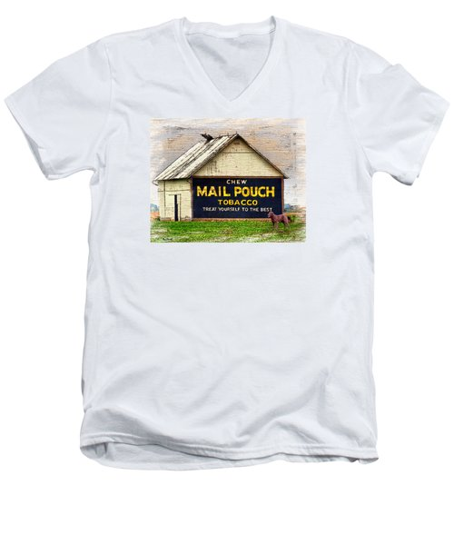 Men's V-Neck T-Shirt featuring the digital art Mail Pouch Barn by Mary Almond