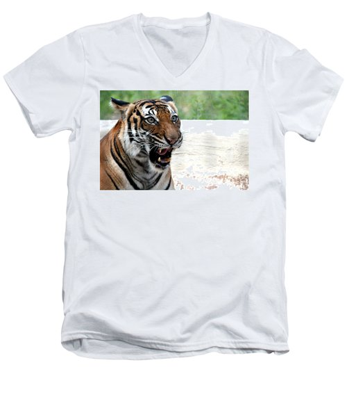 Men's V-Neck T-Shirt featuring the photograph Make My Day by Kathy  White