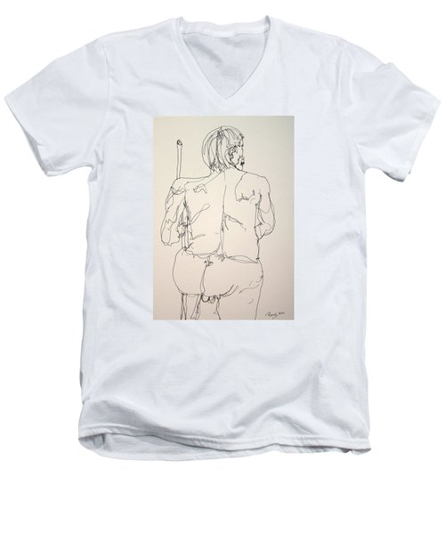 The Naked Man Hiking Men's V-Neck T-Shirt by Rand Swift